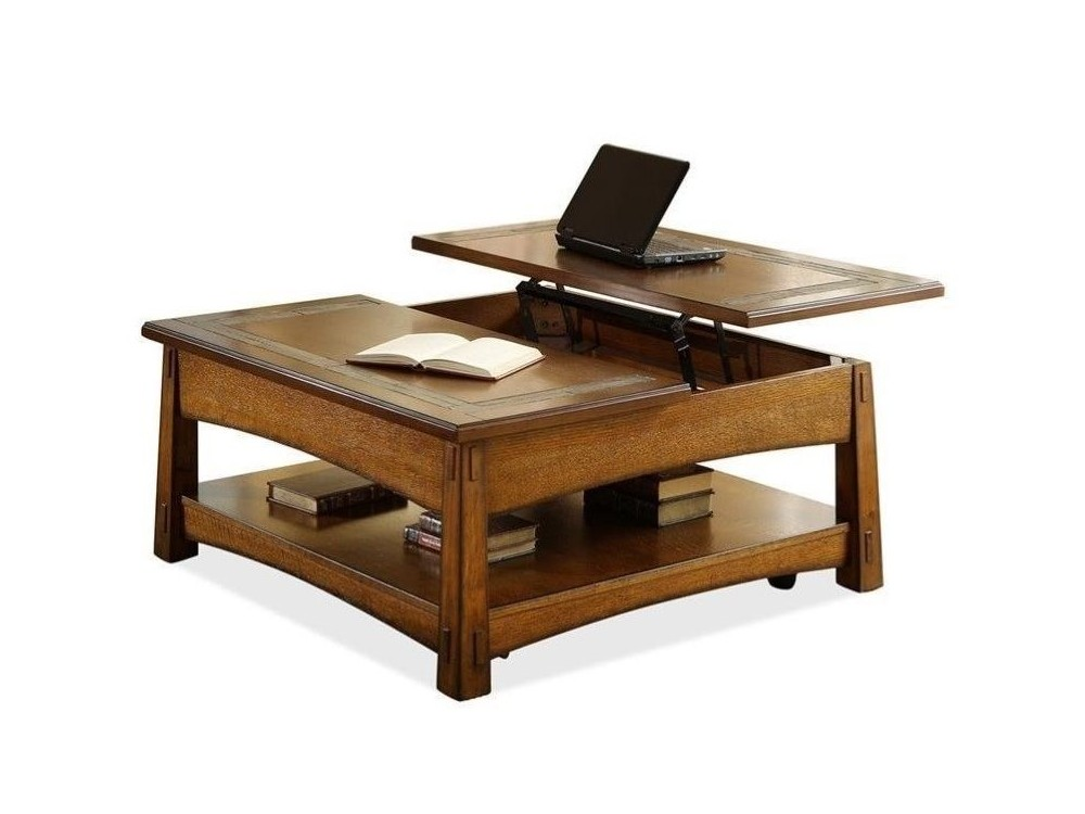 craftsman home square lift top coffee table - gallery home furnishings