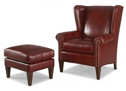 Smith Brothers of Berne Leather Chair and Ottoman